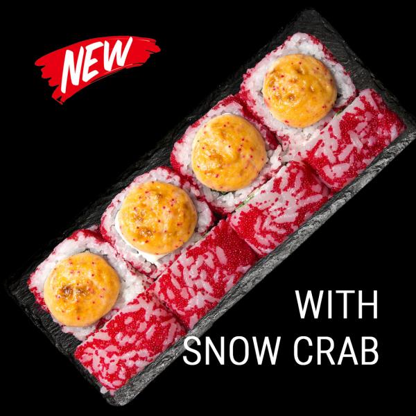 Red tataki roll snow crab
